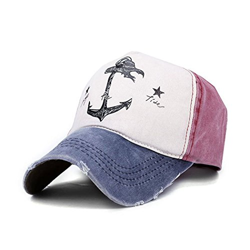 Four Star Pirate Hat - King Star Vintage Style Pirate Ship Anchor Printing Multicolor Adjustable Baseball Cap Blue