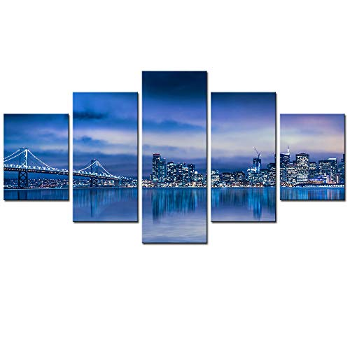 sechars - 5 Piece Canvas Wall Art Night View San Francisco Skyline and Bay Bridge Picture Print on Canvas Modern Wall Decor City Artwork Framed Ready to Hang (San Francisco City Wall Art)