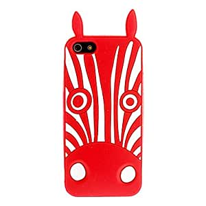 LZXWhite Zebra Pattern Silicagel Soft Case with Front and Back Screen Protecter for iPhone 5/5S , Red
