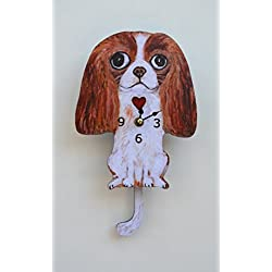 Wall Clock with SwingingTail Pendulum, Cat or Dog, Wood Frame, 31 Different Designs, Requires 2 AA Batteries(not included) for Clock and Pendulum,Quartz Movement (white and dark brown)
