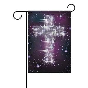 ALAZA Cruz de Pascua en cielo estrellado poliéster bandera de Jardín Casa Banner 12x 18inch, dos Sided bandera de bienvenida Patio Decoración para Boda Fiesta Decoración para el hogar