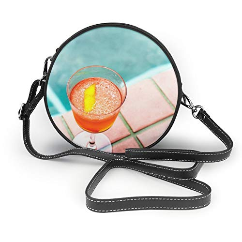 (Bafrsc Clear Stemmed Glass With Orange Beverage Women's Hand Round Crossbody Ms. Shoulder Messenger Bag Personalized Tote)