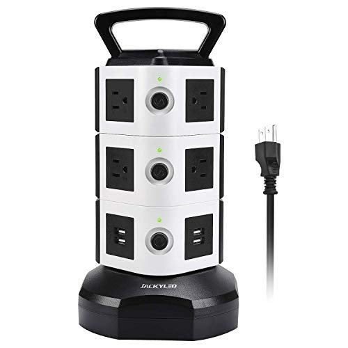 Power Strip Tower Jackyled Surge Protector Electric Charging Station 3000w 13a 10 Outlets 4 Usb Ports With 16awg 6 5ft Heavy Duty Extension Cord Universal For Home Office
