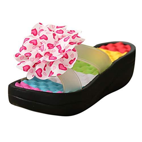 Femmes Haut À Plage Antidérapant Noir Fond Épais Avec Sandales D'été Chaussons Talon Fleur Pantoufles Plateforme Chaussures Tongs sandales De Sonnena Compensées nqfCAA