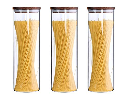 Tall Clear Glass Jars Containers with Wood Lids Glass Canisters Set for the Kitchen with Airtight Wooden Lids Food Storage Containers Spaghetti Pasta Cereal Jars Noodle Holder Keeper 63 Floz Set of 3