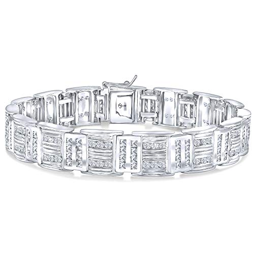 Sterling Manufacturers Men's Fancy Sterling Silver .925 Bracelet with Channel-Set Princess and Round Cubic Zirconia (CZ) Stones, Box Lock, Platinum Plated. Sizes 8