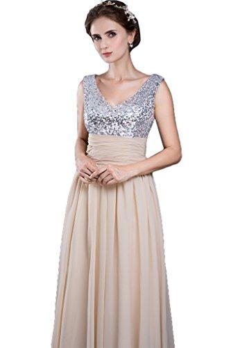 Victory Bridal Champagner Silber Pailletten V-ausschnitt Abendkleider Ballkleider Partykleider brautjungfernkleider Lang