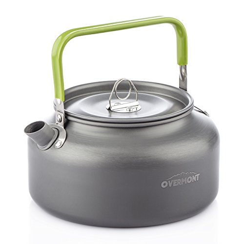 Overmont Aluminum 1.2L Outdoor Camping Hiking Kettle Coffee Pot Portable Teapot Kettle, Compact and Lightweight with Silicon Handle Aluminum Kettle