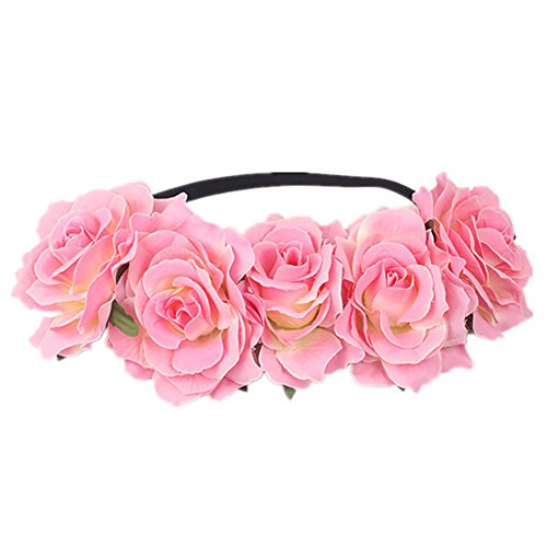 Auranso Hawaiian Ladies Tropical Rose Flower Elastic Headband Floral Garland Stretch Hair Band Bride Wedding Party Headwear Pink