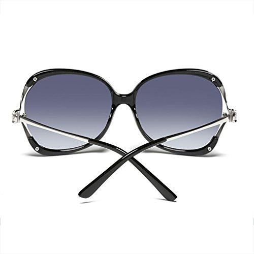 Gafas de Cara del Redonda Sol Conducción de de Gafas de Drive la de luz polarizada Moolo Leopardo de HLMMM UVB400 Femenina de Color Diamante Resina Caja Las Sol black Bright Las Huecas UVA qwZYU6
