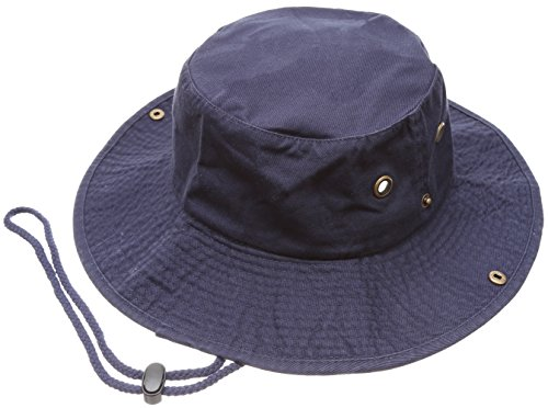 (Summer Outdoor Boonie Hunting Fishing Safari Bucket Sun Hat with Adjustable Strap (Navy,LXL))