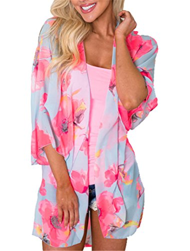 Women's Floral Kimono Cardigan Summer Loose Shawl Chiffon Beach Blouse Cover up XXX-Large Rose Red Floral