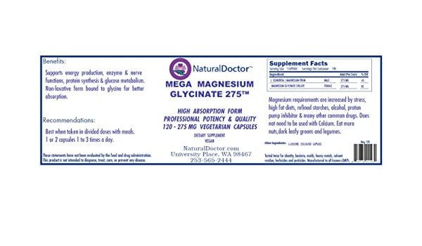 Amazon com: Natural Doctor - Mega Magnesium Glycinate 275
