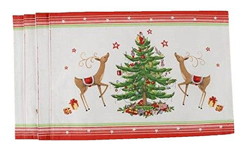 Spode Christmas Tree Placemats - 4 Christmas Jubilee Fabric Placemats by Spode (Red Border)