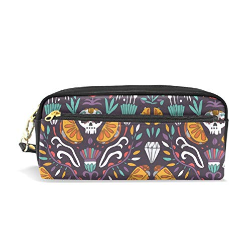Mexican Food Calaveras Tacos Burritos PU Leather Cosmetic Bag Makeup Pouch Pen Pencil Case Coin Purse Travel