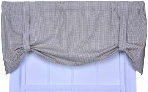 Logan Gingham Check Print Tie-Up Valance Window Curtain, Linen