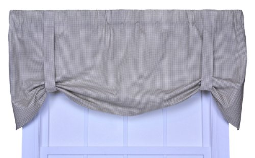 Logan Gingham Check Print Tie-Up Valance Window Curtain, Linen