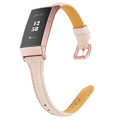 Wearlizer Compatible with Fitbit Charge 3 Bands/Fitbit Charge 4 Band for Women Men Slim Leather Replacement Fit Charge hr 3/4 Special Edition Rose Gold Band Accessories Strap