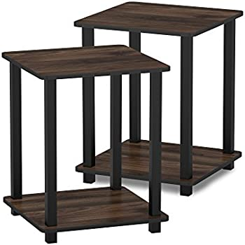 Furinno Simplistic End Table (Columbia Walnut/Black)