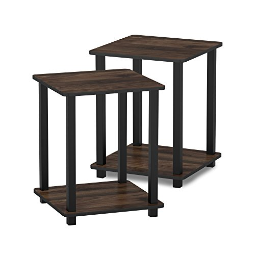 (Furinno 12127CWN/BK Turn-S-Tube End Table 2-Pack, Columbia Walnut/Black)