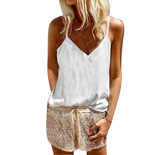 (Aunimeifly Women Pure Color Tank Tops Sexy V-Neck Vest Sleeveless Tops Loose Casual Camisole Blouse (S, White a) )