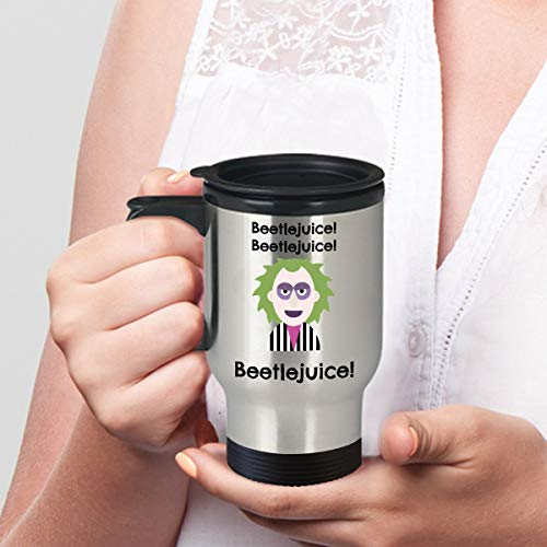 Beetlejuice Movie Travel Mug Coffee Mug Horror Funny Halloween Samhain Classic Cult Ghost Scary Character]()