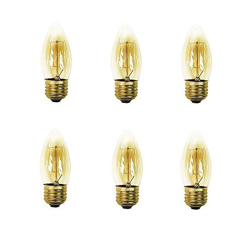 Chandelier Incandescent Amber (Edison Light Bulb Amber Chandelier Base E26 25W C35 (6 pack))