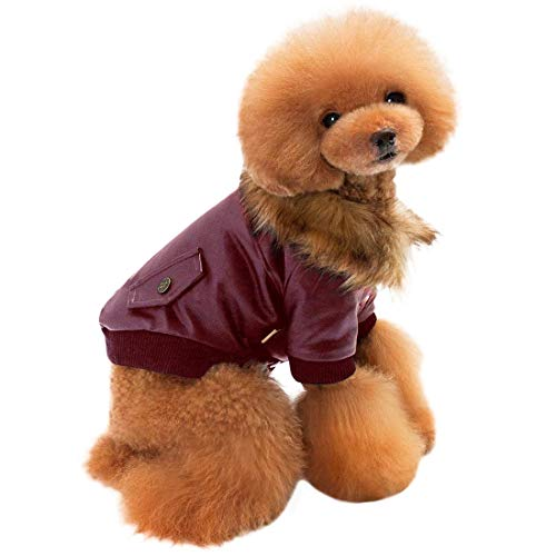 Coat Faux Suede Dog (MORYSONG Dog Cold Weather Coats, Warm Thick Windproof Berber Fleece Dog Hoodies, Puppy Faux Leather Jackets with Snap Button Closure, Cozy Winter Pet Outfit Coat for Small and Medium Dogs)