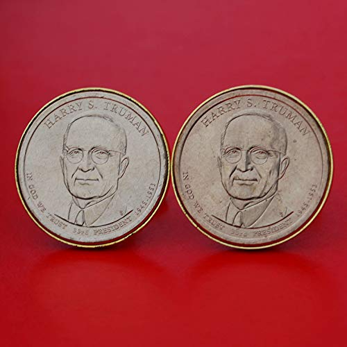US 2015 Presidential Dollar BU Uncirculated Coin Gold Plated Cufflinks NEW - Harry S. Truman (1945-1953 Years Served) Obverses (Truman Dollar)