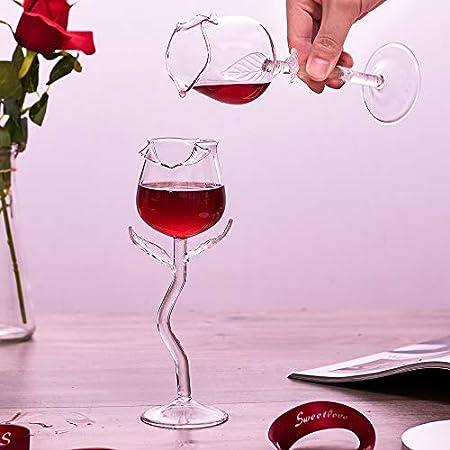 LIDABAO Juego de copas de vino rosa con forma de flor para fiestas en casa