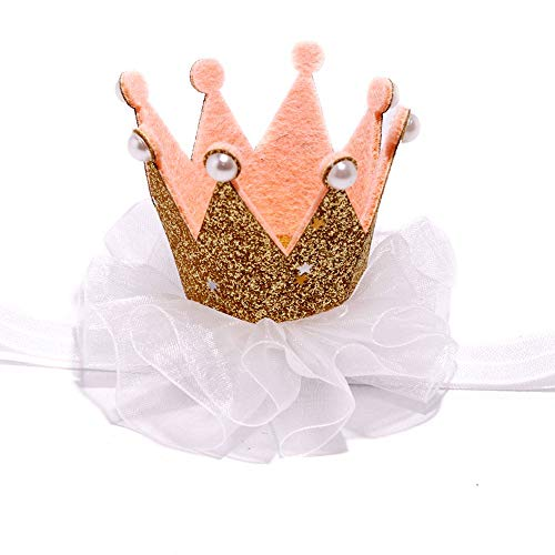 Crown Hair Band Toddler 1 one Crown Headband for Baby Girl Princess First Birthday Handmade Hair Accessory (Gold)