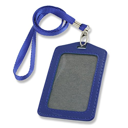 Blue Faux Leather Badge ID Card Vertical Holders Neck Strap 2 Pcs R SODIAL