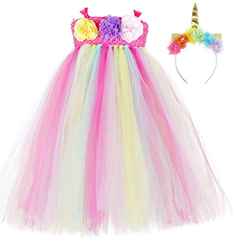 Tween Rainbow Unicorn Halloween Costumes - Tutu Dreams Unicorn Dress Up for