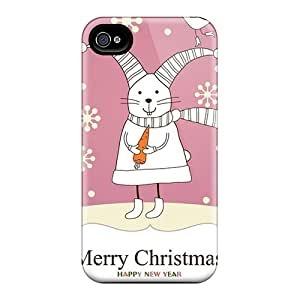 Tpu Case Cover For Iphone 4/4s Strong Protect Case - Merry Christmas Bunny Design