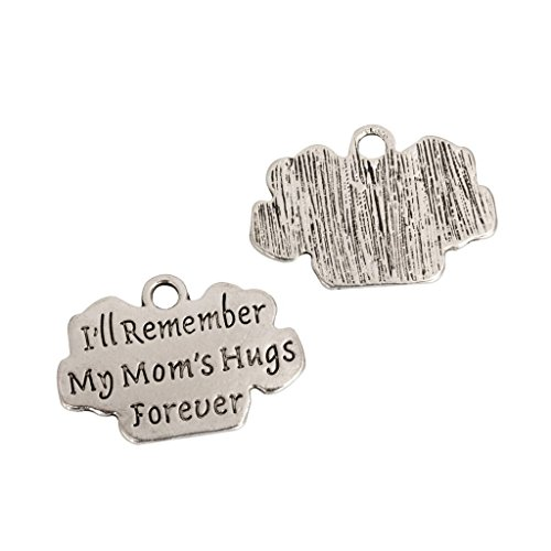 10pcs x I Remember My Mom's Hug Forever Charms 25x17mm Antique Silver Tone #mcz1069
