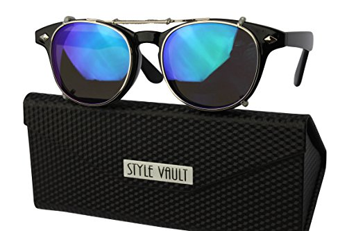 W87-fc Style Vault Clip on Wayfarer Sunglasses (S2870V black/silver-emerald - Clip Sunglasses Mirror On