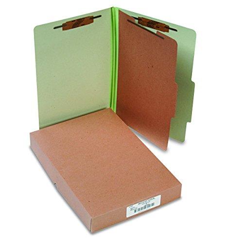 (Acco ACC16044 Pressboard 25-Point Classification Folders, Lgl, 4-Section, Leaf GN, 10/Box)
