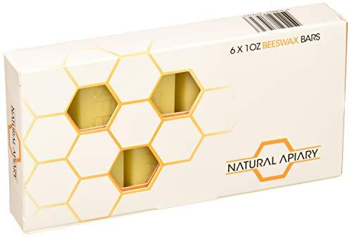 NATURAL APIARY - 100% General Use Beeswax Bars - 6 x 1oz Bars - DIY Projects, Candle Making, Furniture Polish, Crafts