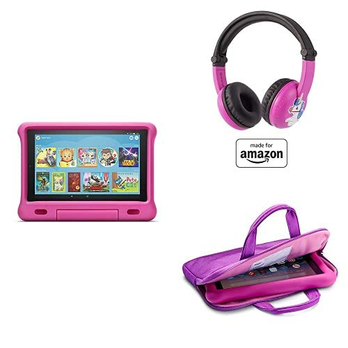 Fire HD 10 Kids Essential Bundle including Kids Fire HD 10 Tablet 32GB Pink + Poptime Bluetooth Headset (Ages 3-7) + Tablet Carrying Sleeve