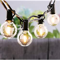 Garden and Outdoor G40 Lights 25Ft Outdoor/Indoor LED String Lights with 27 Shatterproof LED 0.6W Clear Globe Bulbs Edison Vintage… outdoor lighting