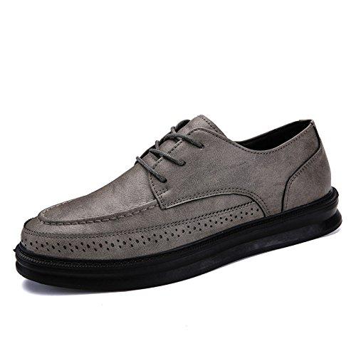 zmlsc Casual Hommes Chaussures en Cuir D'affaires Ronde Souple Point Point Ruban Saison Couleur Toile Sport Sandales Bottes Grey faGvfKb