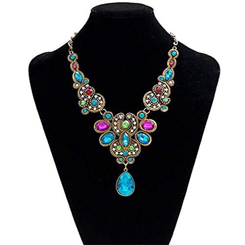Noopvan Necklack Pendant Chain Women Statement Crystal Bib Beaded Collar Necklace Choker (Colorful) from Noopvan