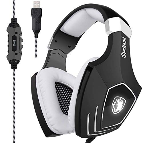 - [2017 Newly Updated USB Gaming Headset] SADES A60/OMG Computer Over Ear Stereo Headsets Heaphones with Microphone Noise Isolating Volume Control LED Light (Black+White) for PC and MAC