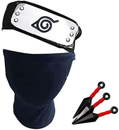 2 Pcs Plastic Toy Big Kunai Cosplay Leaf Village Metal Plated Headband Ninja Kakashi 7Queen Naruto Headband