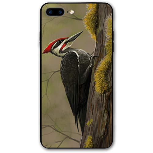 (iPhone 7 Plus Case/iPhone 8 Plus Case Woodpecker Picture Soft Rubber Cover Lightweight Slim Printed Protective Case)