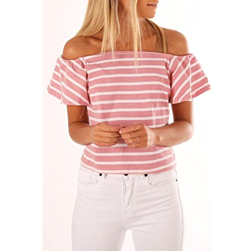 Manches Rose Shirt Femme Chemisier Dnud paule Tops T Rayures Dcontracte Mode Angelof Volants Courtes tOqxn8HwgE