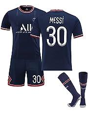 21-22páris # 30 Messi hem och bort tröjor, vuxna och barn passar, snabbtorkande andningsbart tyg + strumpor