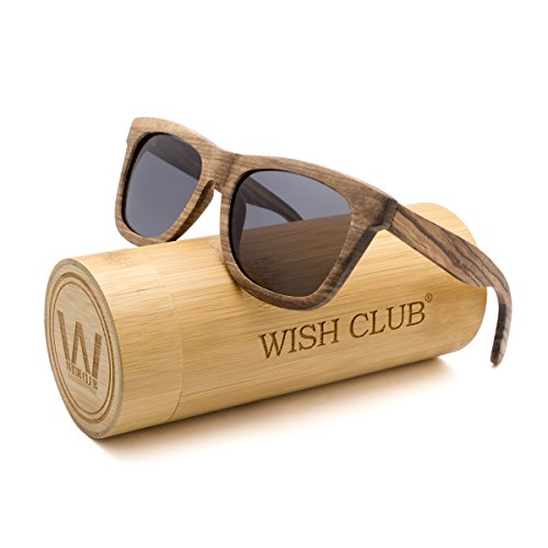 WISH CLUB Wayfarer Polarized Lenses Wood Frame Sunglasses for Women and Men Rimmed Mirrored Wooden Bamboo Eyewear for Unisex Mens Light Round Glasses with Box UV 400 Protection - Bamboo Wayfarers