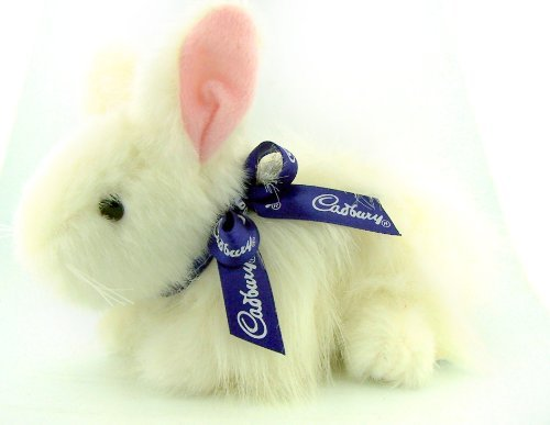 Unique Easter Gift Clucking White Fur Cadbury Bunny Rabbit Collectible Plush Stuffed Animal Toy