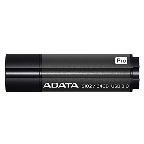 (ADATA Superior Series S102 Pro 64 GB USB 3.0 Flash Drive - Titanium (AS102P-64G-RGY))